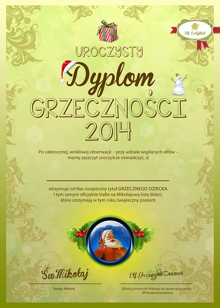 List od Mikolaja wraz z dyplomem Grzeczności 2014