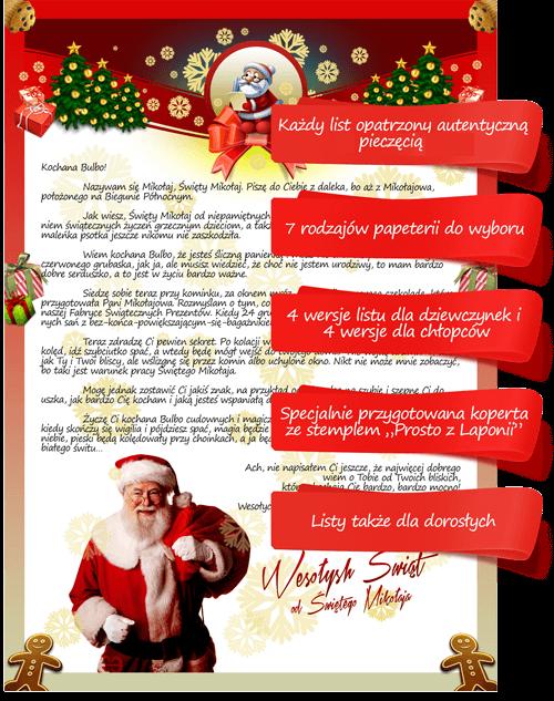 List od Mikołaja - przykładowy